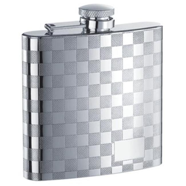 Visol VF1151 Mate Checkered Stainless Steel 6oz Hip Flask