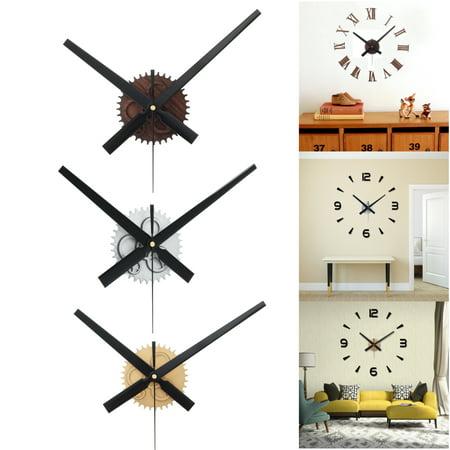 Modern Large Silent 3D Quartz Wall Clock Movement Kit Sticker Home Office Room Decor DIY Art Mahogany Silver Gold