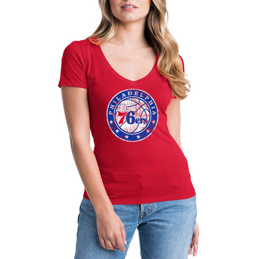 NBA Philadelphia 76ers Women's Short Sleeve V Neck Graphic Tee