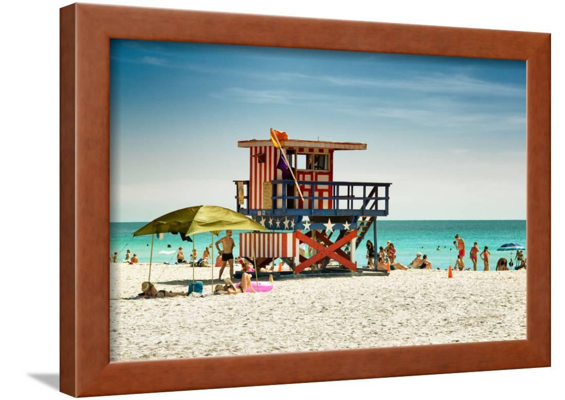 beach scene with a life guard station miami beach florida framed print wall art by philippe. Black Bedroom Furniture Sets. Home Design Ideas