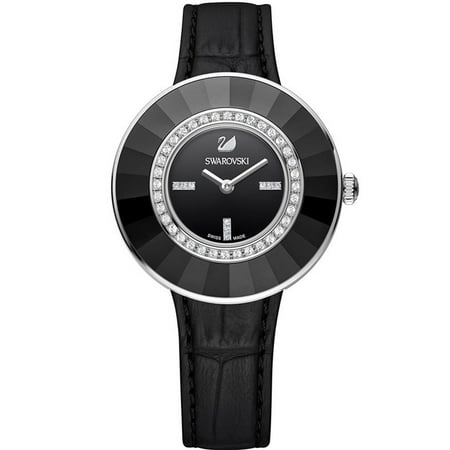 Dressy Leather Watch - Swarovski Women's Octea Dressy 36mm Black Leather Band Steel Case Quartz Analog Watch 5182252