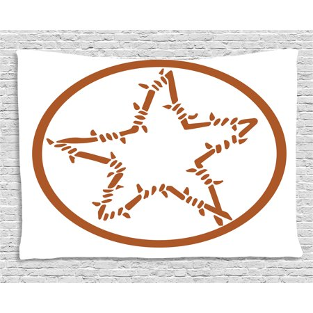 Texas Star Tapestry, Barbed Wire Style Star in a Circle Western Themed Monochrome Motif Borders, Wall Hanging for Bedroom Living Room Dorm Decor, 60W X 40L Inches, Brown and White, by Ambesonne
