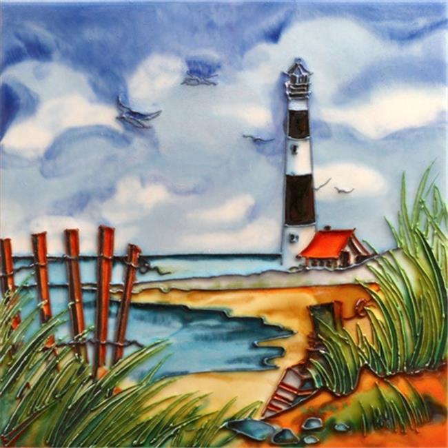 En Vogue B-302 Light House By the Beach - Decorative Ceramic Art Tile - 8 in. x 8 in.
