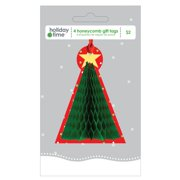 Holiday Time Honeycomb Gift Tags, Tree, 4-Pack