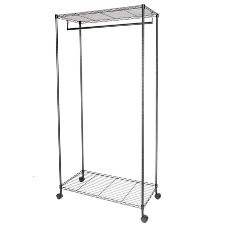 Clothing Racks on Wheels, 35.4  x 17.7  x 70.9  Closet Organizer Garment Rack Clothes Hanger Storage Rack Shelf for Home Use, Black,Y00414 Garment Rack Hanging Rolling Clothes Rack with Top and Bottom Shelves,35.4  x 17.7  x 70.9 ,4 Wheels,Black Modern Design & Open SightThe metal wire design for the garment rack is simple and modern, which is suitable for most dcor. And Open design offers you for clear visibility and grab quickly what you want. Large CapacityThis clothes rack features simple but praticaldesign.You can use bottom shelf to keep your shoes, luggage or other daily items and put your beddings on the top shelf. The rodallows for storage of garments such as dresses, winter coats, and robes. This will prevent the wrinkling of your favorite outfits. 360 RotatingThe rolling clothes rack is equipped with 4 heavy-duty caster wheels for easy portability around the house. The wheels have a 360 swivel for smoother transportation. Two of the caster wheels have locking brakes for safety and security to keep the garment rack in place. Stable ConstructionWardrobe rack constructed with powder sprayed carben steel pipes, the closet is sturdy and rustproof. The clothing rack will company you for years like new. The weight capacity of each shelf is approx 66 lbs.Introductions:Hang and dry your clothes with this Carbon Steel Garment Rack Hanger! It uses high quality carbon steel, which features stable, sturdy and durable. Its double-layer design provides ample drying space, and you can hang a lot of clothes on it. Moreover, its simple modern design coordinates well with any home decor styles. Smooth wheels add to the ease of mobility. With such high quality and durable construction, it surely is an ideal option. Don't hesitate to order now!Specifications:1. Material: Carbon Steel2. Color: Black3. Surface Finish: Powder Coating4. Dimensions: (35.4 x 17.7 x 70.9)  / (90 x 45 x 180)cm (L x W x H)5. Pipe Size: 19x1.0mm (Diameter x Thickness)6. Weight: 14.33 Lbs / 6.5 kg7. Per Shelf Maximum Load: 66 Lbs / 30 kgFeatures:1. Designed to hang and dry your clothes2. Made of high quality material, sturdy and durable3. Double-layer design provides ample drying space4. Simple modern design coordinates well with any home decor styles5. Flexible wheels, easy to move6. Easy to assemble and maintainPackage Includes:1 x Garment Rack Hanger