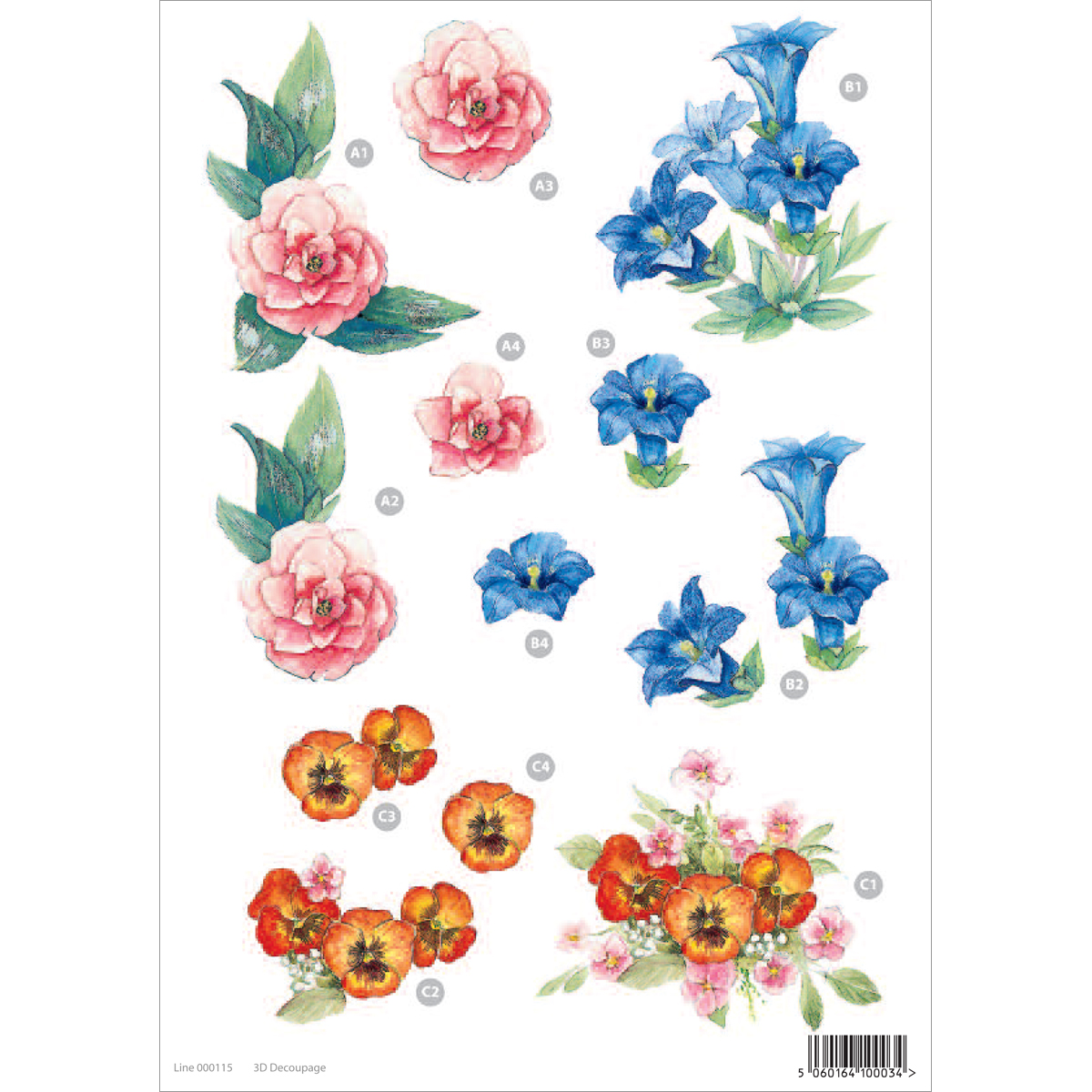 "3D Die-Cut Decoupage Sheet 8.3""X11.69""-Floral"