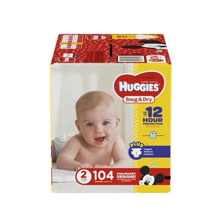 HUGGIES Snug & Dry Diapers, Size 2, 104 (Dry Time Baby Diapers)