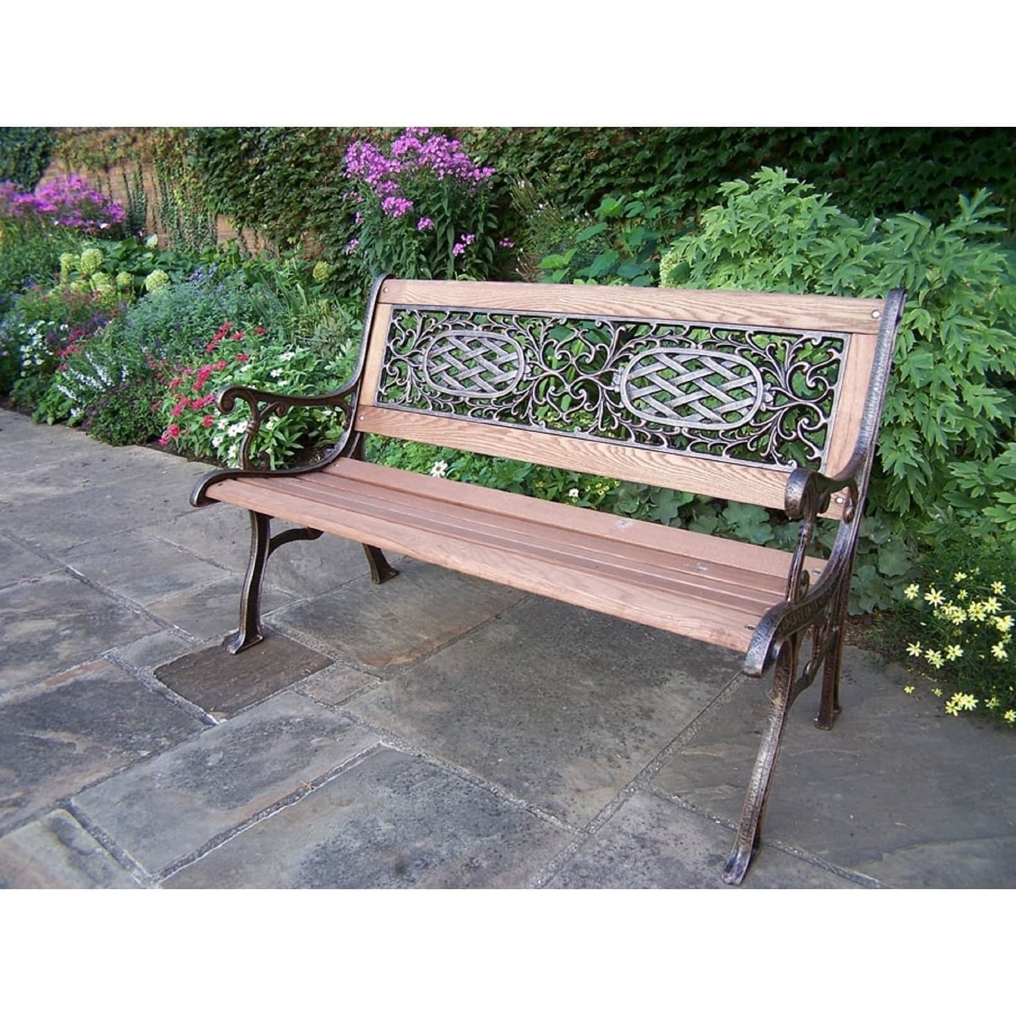 Oakland Living Corporation  Cast Aluminum/Iron With Wood Garden Bench