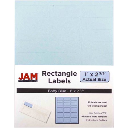 JAM Paper® Mailing Address Labels - Small - 1 x 2 5/8 - Baby Blue - 30 Labels per Page/120 Labels Total