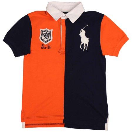 2c3d01b3 Polo Ralph Lauren - Polo Ralph Lauren Big Boys' (8-20) Big Pony Rugby Shirt- Orange/Navy - Walmart.com