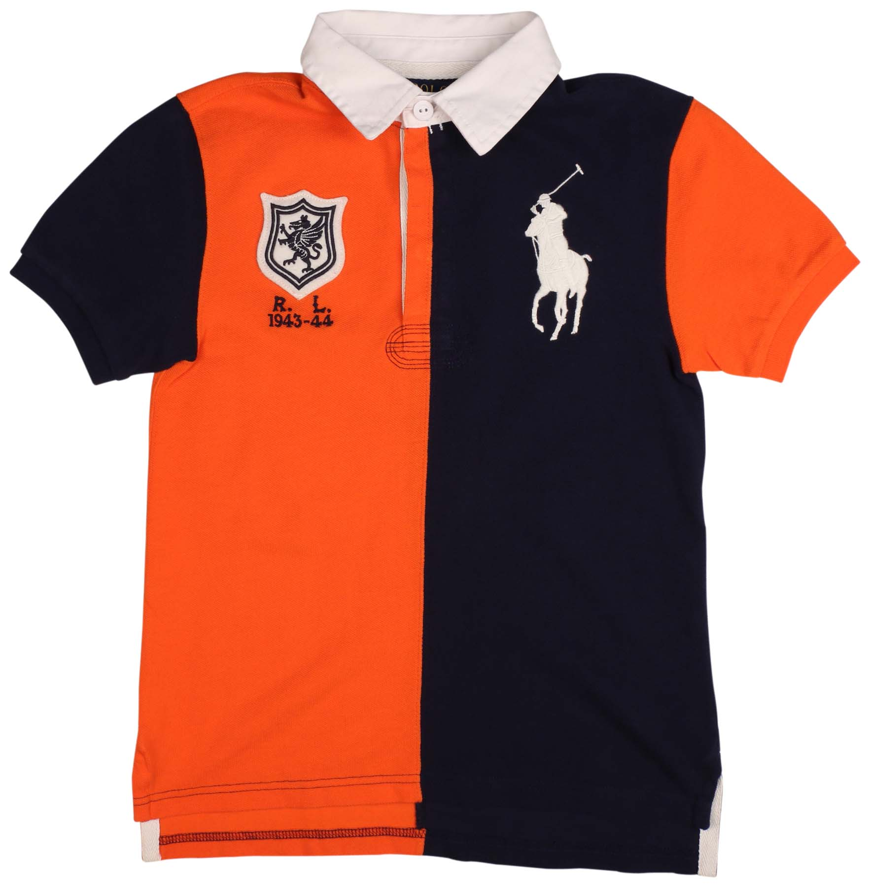 Polo Ralph Lauren Big Boys' (8-20) Big Pony Rugby Shirt-Orange/Navy
