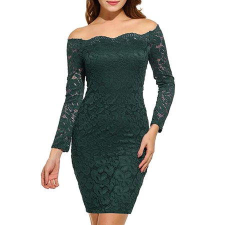 2b697eaf6638 Vista - Women s Off Shoulder Lace Dress Long Sleeve Bodycon Cocktail Party  Wedding Dresses - Walmart.com