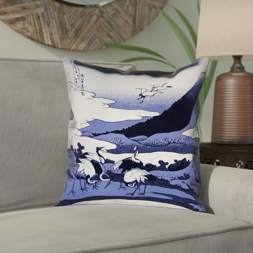 Bloomsbury Market Montreal Japanese Cranes Square Double Sided Print Pillow Cover