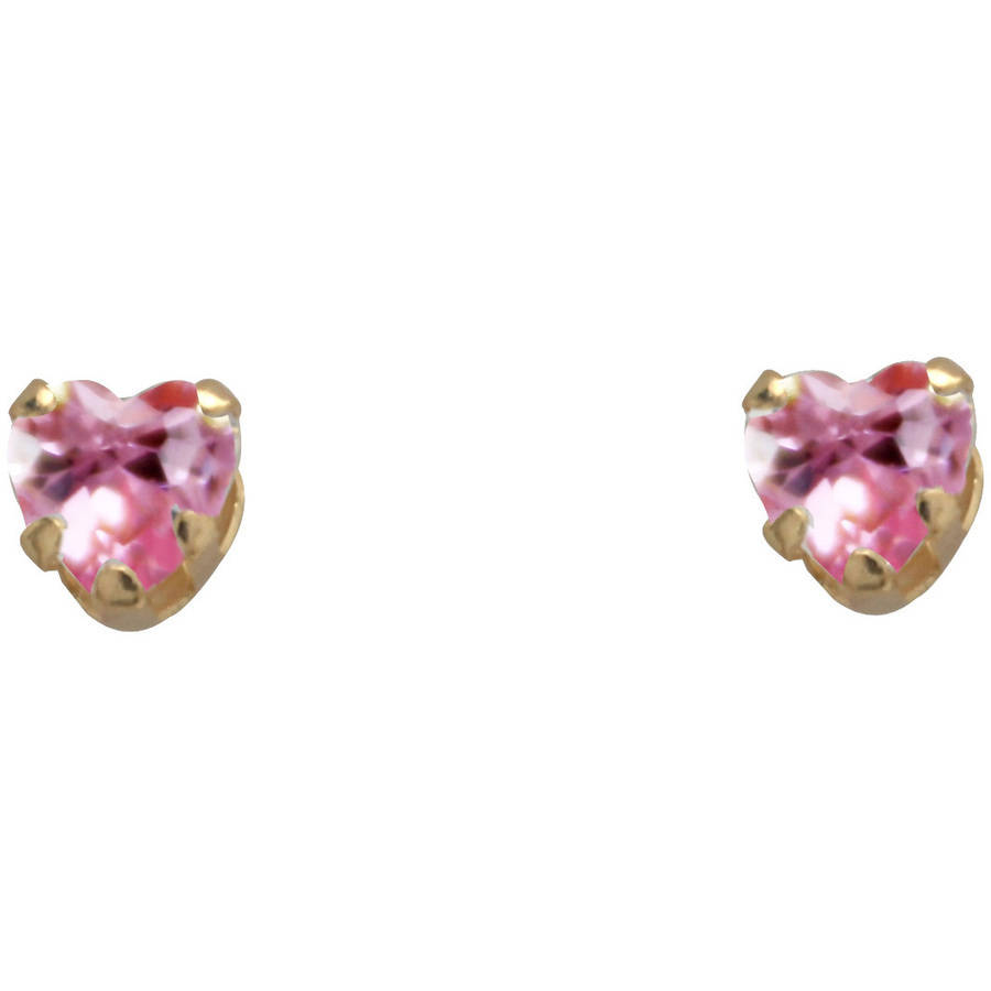 Heart-Shaped Pink Cubic Zirconia 14kt Yellow Gold Stud Earrings