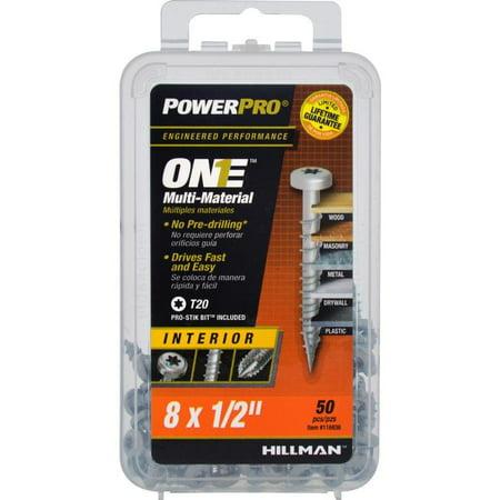 Hillman 116936 PowerPro One Multi-Material Interior Screws, #8 x 1/2