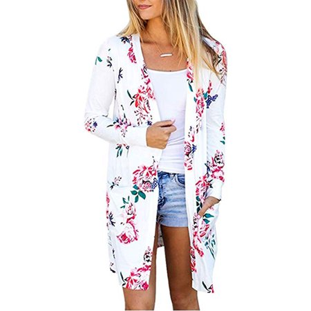 Short Sleeve Kimono (Womens Long Sleeve Floral Print Open Front Kimono Cardigan Casual Tops Outwear )