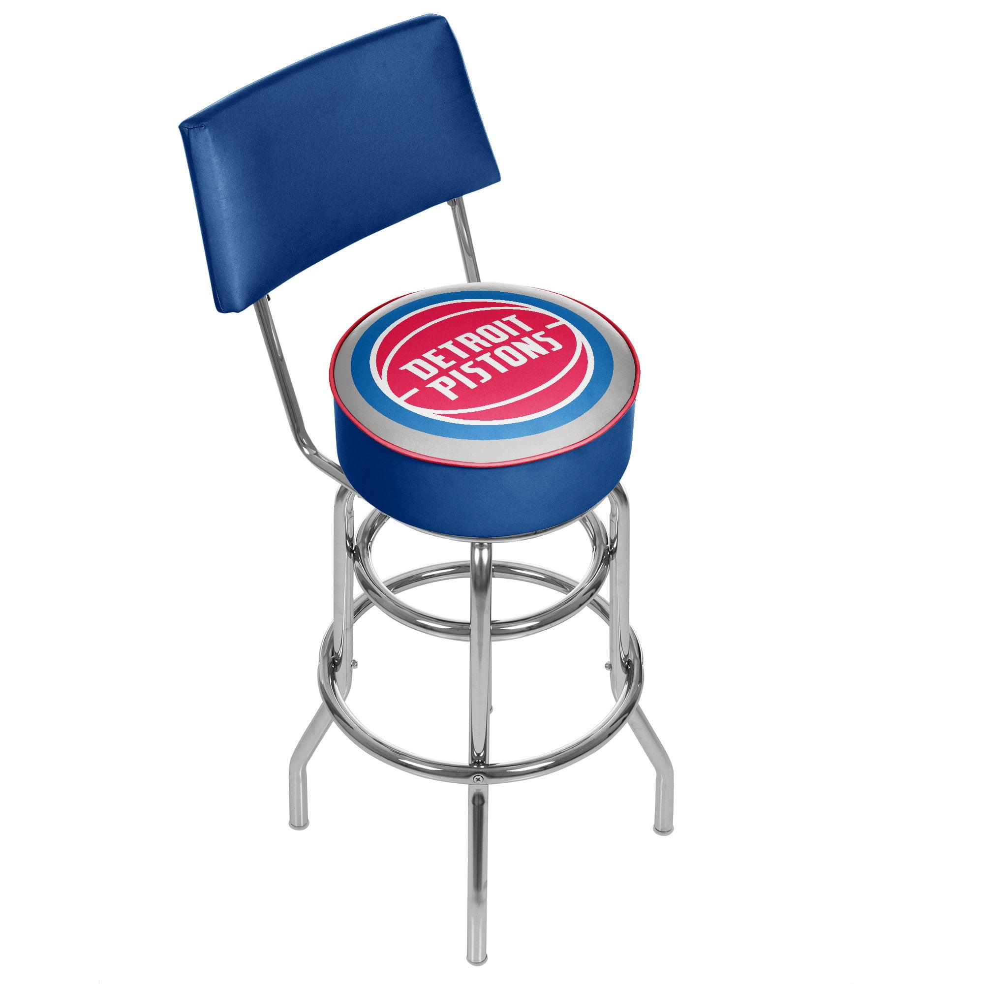 """Trademark NBA Detroit Pistons 40"""" Padded Swivel Bar Stool with Back, Chrome"""