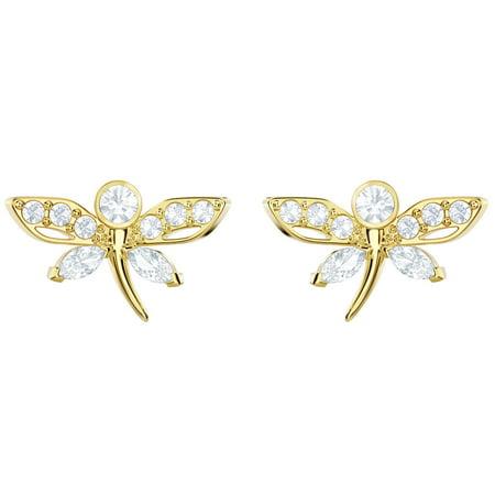 Swarovski Dragonfly Earrings - Swarovski Magnetic Gold Plated Dragonfly Stud Earrings - 5429352