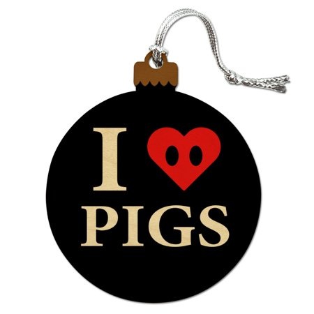 I Love Pigs Heart Snout Wood Christmas Tree Holiday Ornament