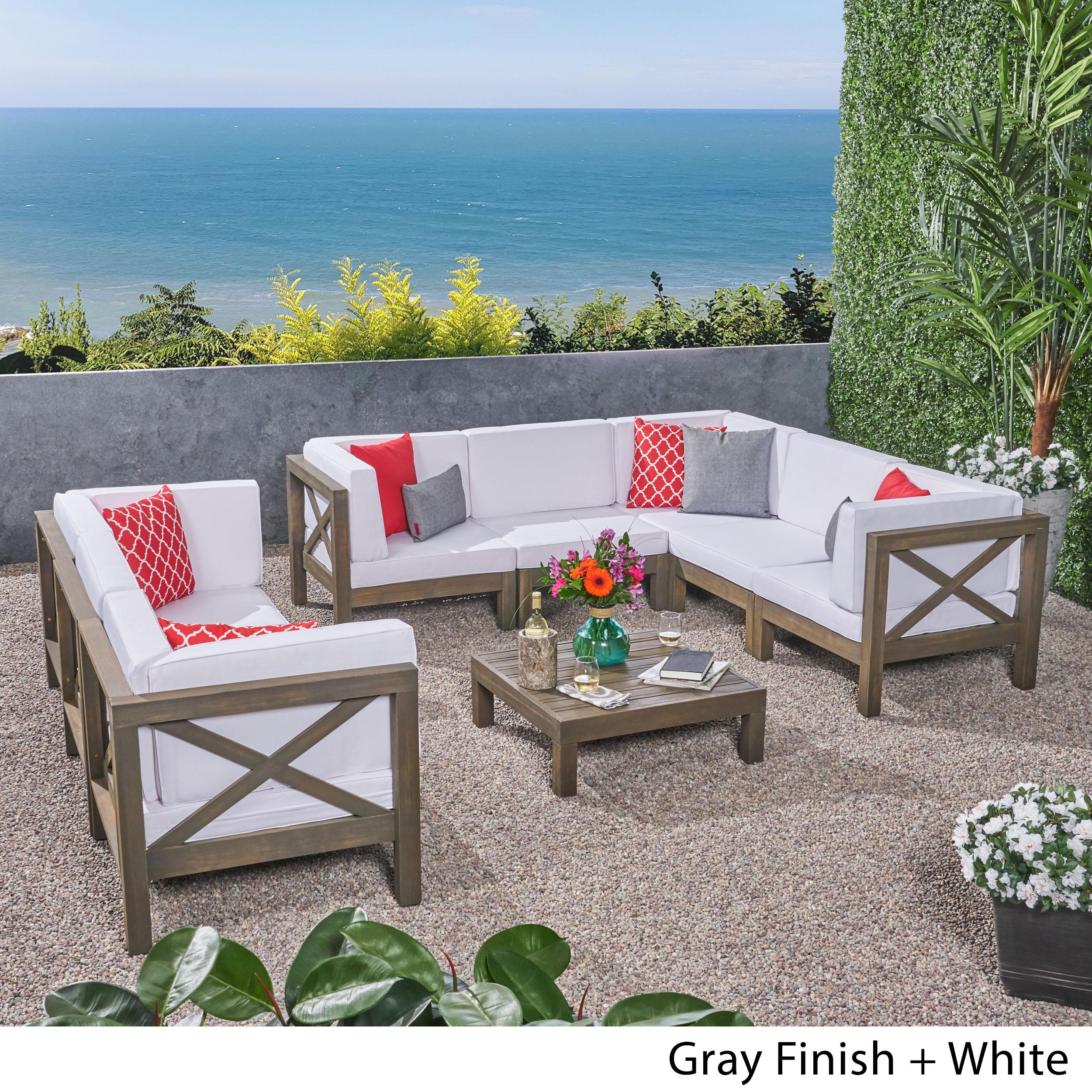 Elisha Outdoor 9 Piece Acacia Wood Sectional Sofa Set and Coffee Table with Cushions, Teak, Blue