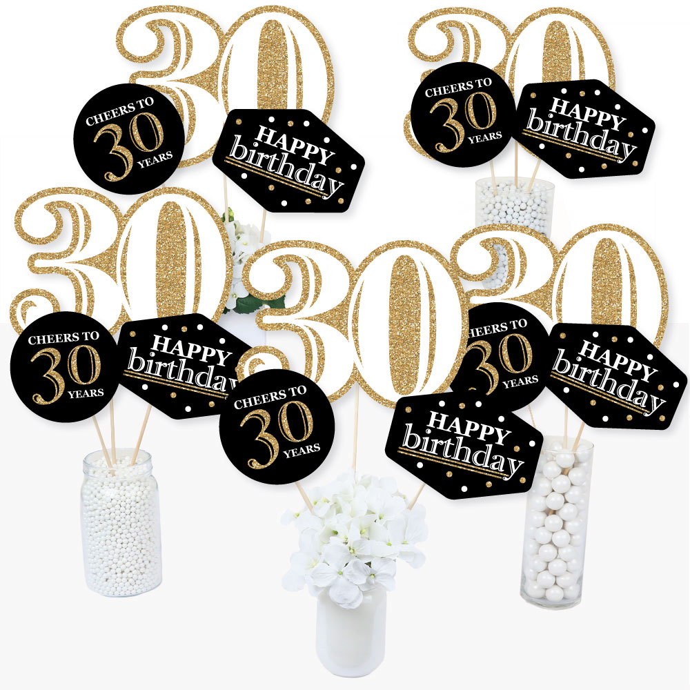 Adult 30th Birthday - Gold - Birthday Party Centerpiece Sticks - Table Toppers - Set of 15