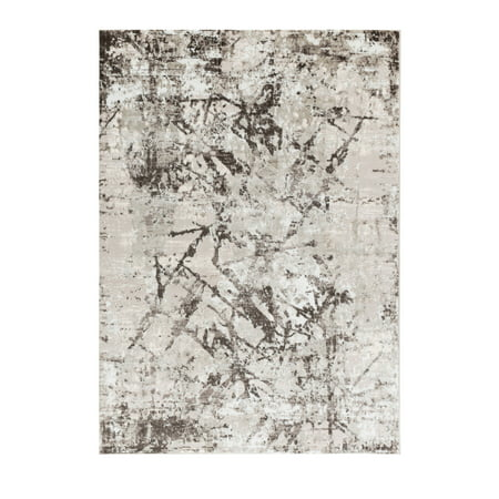 Allure Collection - Cream, Brown, Abstract Modern Distressed Area (Allure Collection)