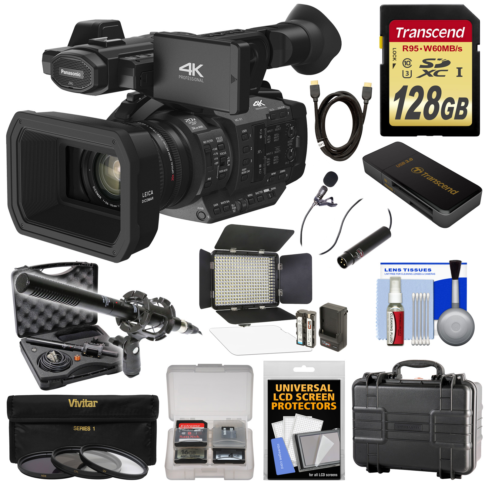Panasonic HC-X1 4K Ultra HD Video Camera Camcorder with 128GB Card + LED Light + 2 Microphones + Hard Case + 3... by Panasonic