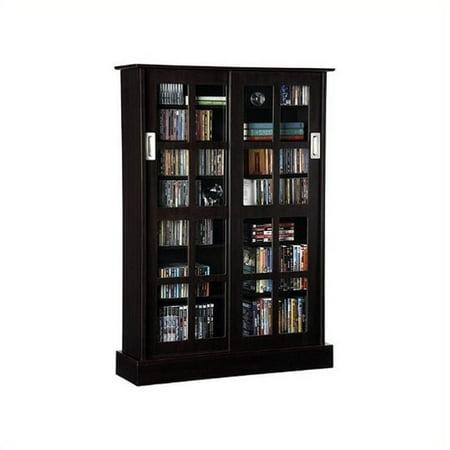 Glass Media Cabinets (Pemberly Row Windowpane Sliding Glass Door Media Cabinet in Espresso )