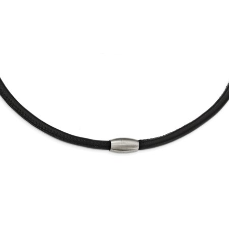 21.5 Inch Pendant - Stainless Steel Brushed Black Leather Necklace - 21.5 Inch