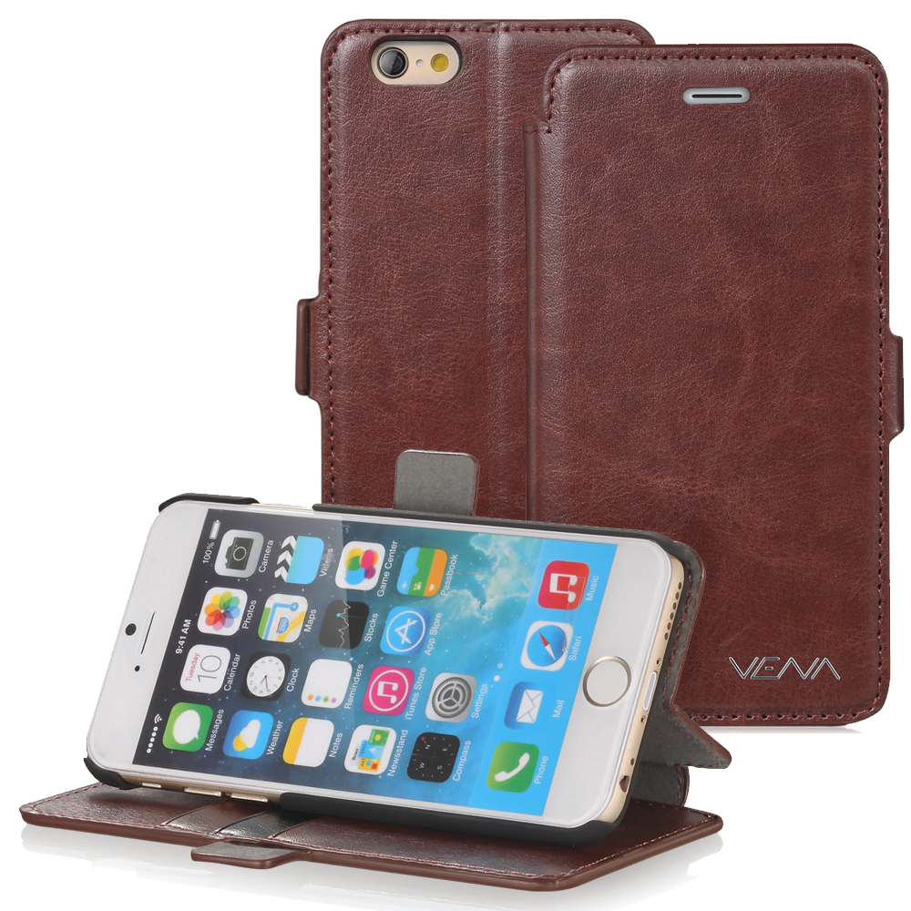 "iPhone 6 Plus Wallet Case - VENA [vFolio] Slim Fit Faux Leather Vintage Flip Stand Wallet Case with Card Slots for iPhone 6 Plus (5.5"") - Brown"