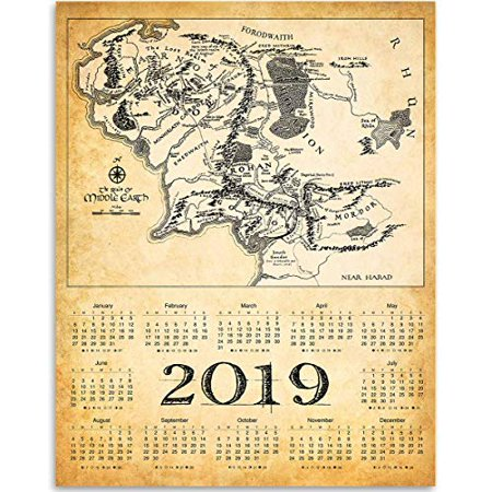 2019 Calendar - The Realm Of Middle Earth Map - 11x14 Unframed ...
