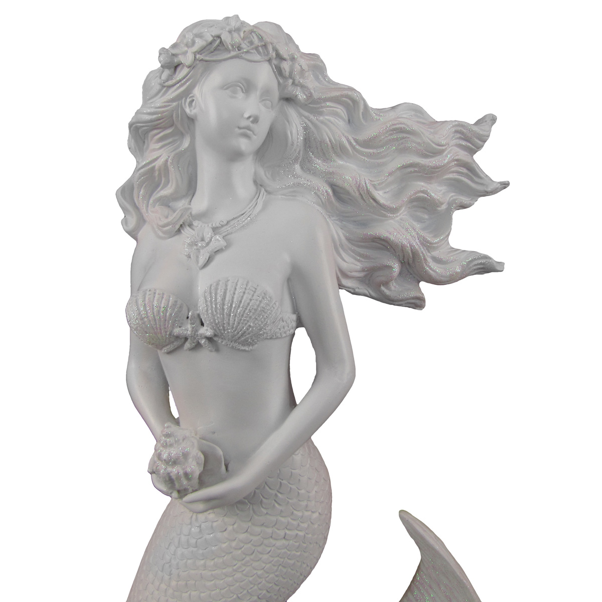 Glittering White Flowing Hair Mermaid Sculpture Wall Art Plaque Beach Home Decor