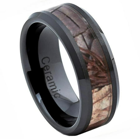 Camo Wedding Accessories (8mm - For Men or Ladies Beveled Edge with Forest Floor Foliage Camo Inlay Ceramic Wedding Band)
