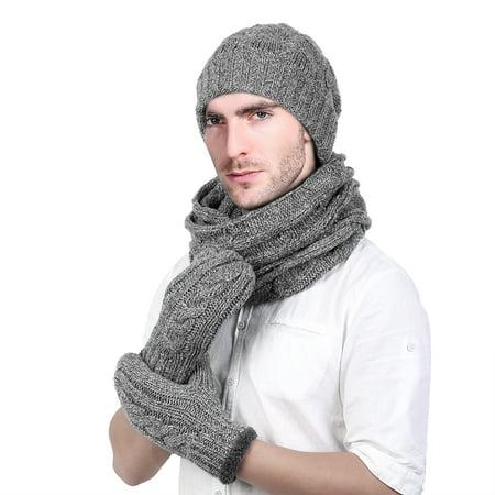 aa165c17 Allcaca - Winter Hat Set-Allcaca Winter Warm Beanie Hat + Scarf + Touch  Screen Gloves Unisex 3 Pieces Cap Set for Men Women - Walmart.com