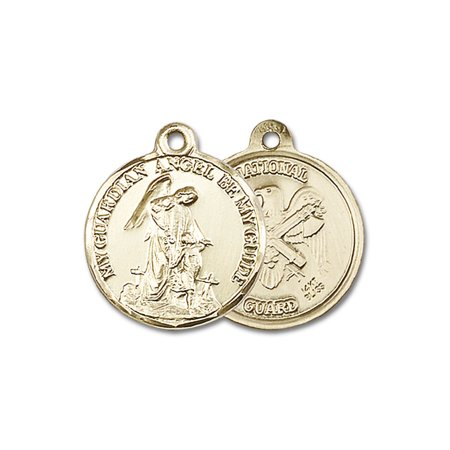 - 14kt Yellow Gold Guardain Angel / Nat'L Guard Medal 7/8 x 3/4 inches