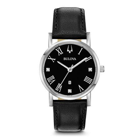 Bulova Women's Classic Slim-Profile Diamond Accent Leather Watch