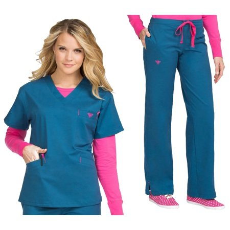 (Med Couture Activate Color Block Top & Pant Scrub Set[XS - 3XL] + FREE GIFT + FREE SHIPPING)