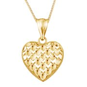 Natural Diamond Heart Charm Pendant In 10K Solid Yellow Gold