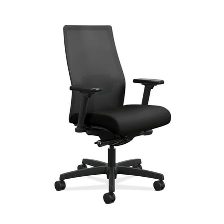 HON Ignition 2.0 Mid-Back Adjustable Lumbar Work Chair - Black Mesh Computer Chair for Office Desk, Black Fabric (Chair Black Tectonic Fabric)