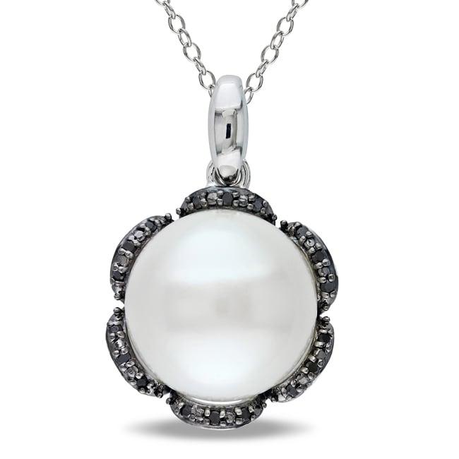 Miadora  Sterling Silver Pearl and Black Diamond Accent Pendant