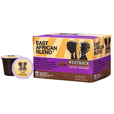 Westrock Coffee Company East African Blend Best Medium Dark Roast Gourmet Single Serve K Cups 12 Count