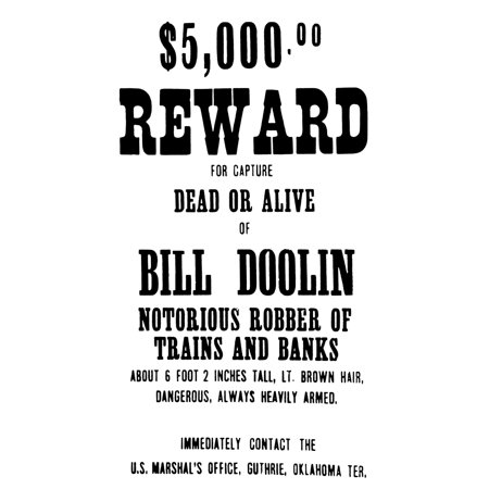 Reward Poster Na Wanted Poster Issued After The Doolin Gang Held Up A Rock Island Train Near Dover Oklahoma In May 1895 Rolled Canvas Art -  (24 x 36) - Halloween Stores In Oklahoma