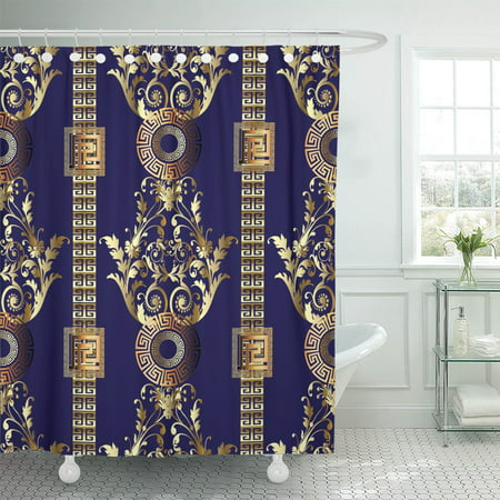 PKNMT Modern Floral Abstract Dark Blue Vintage Gold 3D Baroque Polyester Shower Curtain 60x72 inches ()
