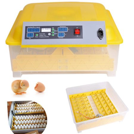 Automatic 48 Digital Clear Egg Incubator Hatcher Egg Turning Temperature Control 80W US Plug Yellow