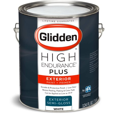 Glidden High Endurance Plus Exterior Paint And Primer Semi Gloss Finish Ready Mix White 1