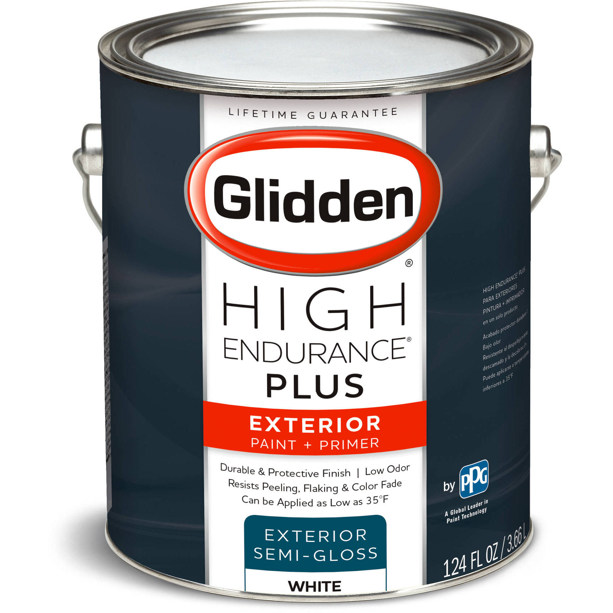 glidden high endurance plus exterior paint and primer semigloss finish ready mix white 1 gallon walmartcom