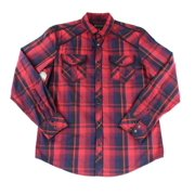 INC NEW Red Black Mens Size XL Long-Sleeve Plaid Roll-Tab Button-Front Shirt