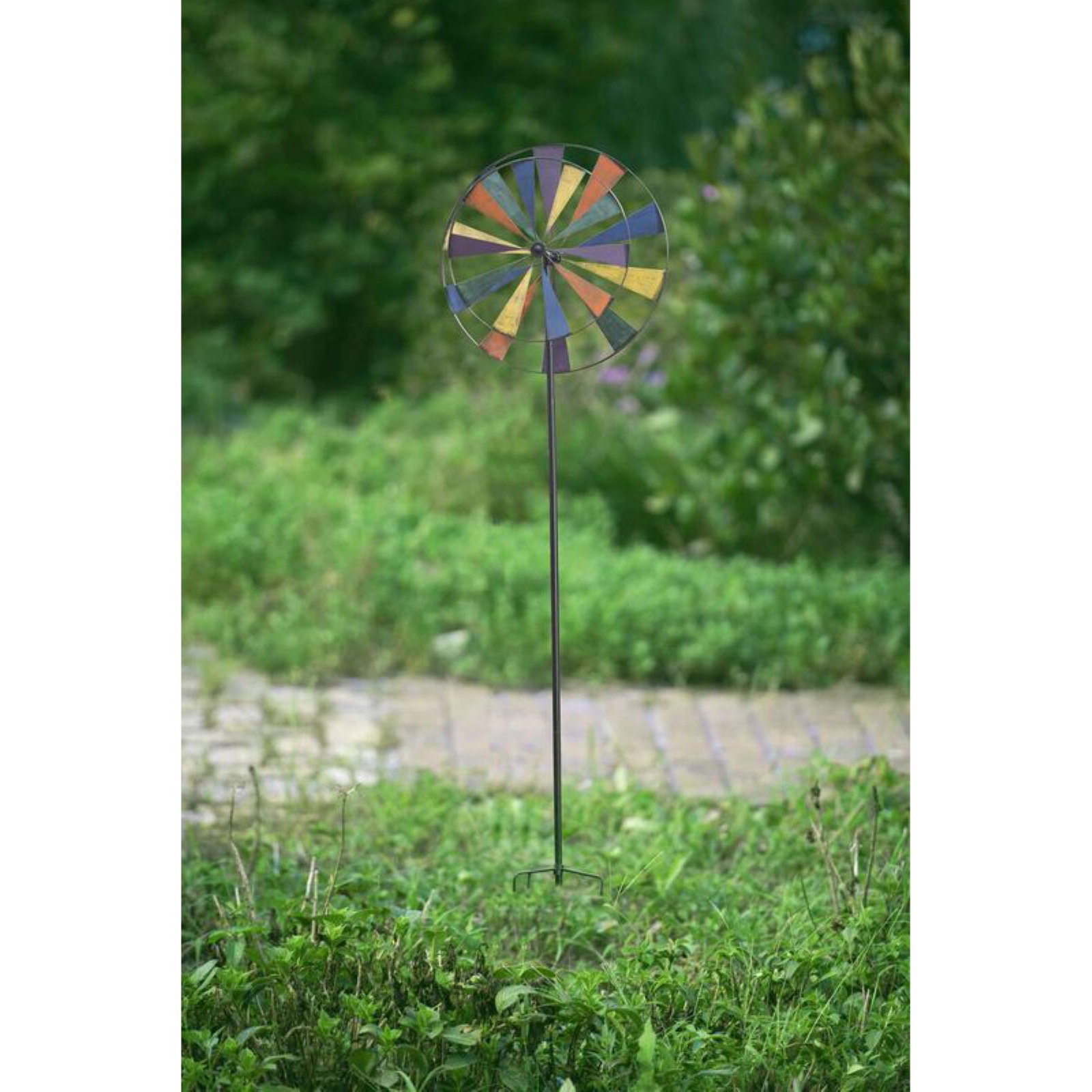 """Sunjoy 110304004 Large Kinetic Windmill Iron Garden Stake with Antique Finish, 84"""" by SunNest Services LLC"""
