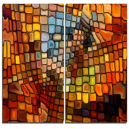 Design Art Dreaming of Stained Glass Abstract 2 Piece Graphic Art on Wrapped Canvas Set Design Orange Fused Glass