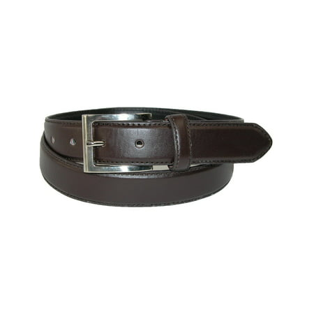 Mens Brake Buckle (Men's Leather 1 1/8 Inch Basic Dress Belt with Silver Buckle )